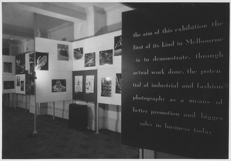 """Entrance panel, Wolfgang Sievers and Helmut Newton, """"New Visions in Photography"""" exhibition, held at the Federal Hotel, Collins Street, Melbourne, Victoria, 1953."""