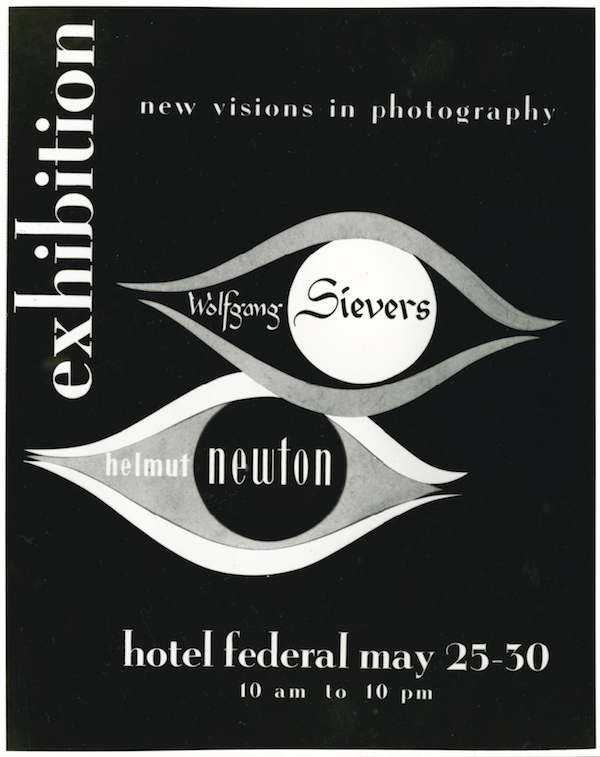 """Poster for Wolfgang Sievers and Helmut Newton, """"New Visions in Photography"""" exhibition, held at the Federal Hotel, Collins Street, Melbourne, Victoria, 1953."""